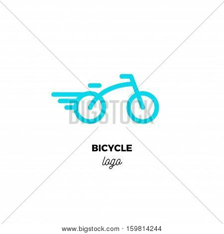 Rounded line art vector logo of stylized blue bicycle. Minimalistic bicycle design template