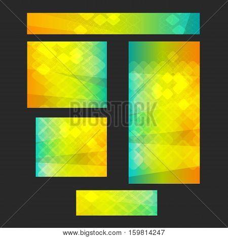 Design elements presentation template. Set website banners background backdrop blurred glow light effect. Vector illustration EPS 10 for web buttons template business card layout web site standard