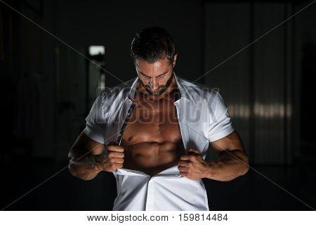Sexy Latin Man Posing In White Shirt