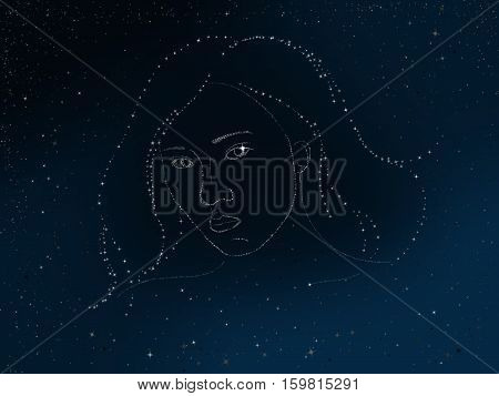 illustration of woman's face in the sky inlaid stars