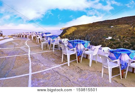 greek tavern at the castle of Sifnos island Cyclades Greece