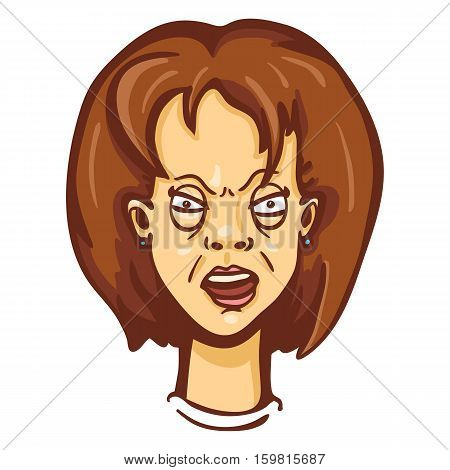 Vector Cartoon Female Character Emotion. Furious Woman