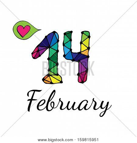 Fourteenth February inscription with balloon with heart. Vector illustration for Valentine day.