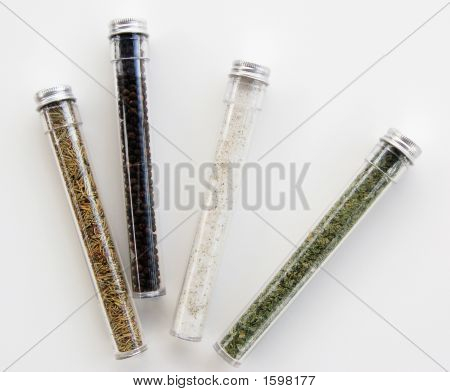 Spice containers on a white background