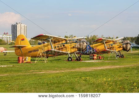 MINSK BELARUS - MAY 07 2016:Two biplane An-2. An-2 is a Soviet mass-produced single-engine biplane utility agricultural aircraft designed and manufactured by the Antonov Design Bureau beginning in 1946.