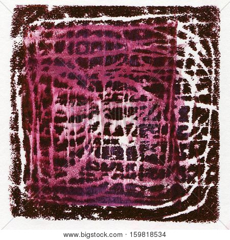 Abstract acrylic red background originally produced as a monoprint on paper texture