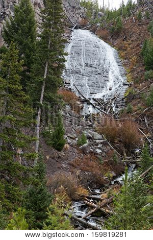 Closeup view of Wraith Falls in Yellowstone National Park USA.