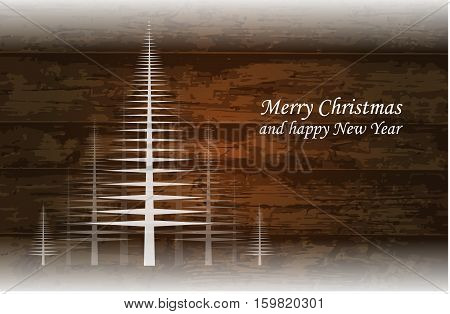 Wooden brown vector Christmas background with trees