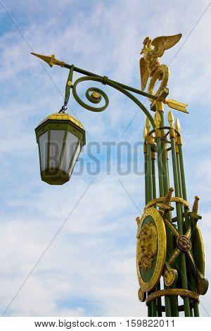 Bridges of St.Petersburg. Streetlamp on Panteleymonovsky Bridge across the Fontanka river