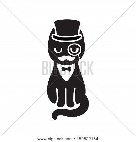 Gentleman cat with top hat and monocle. Funny cartoon vector drawing. Black and white cat with mustache wearing tuxedo and bow tie.