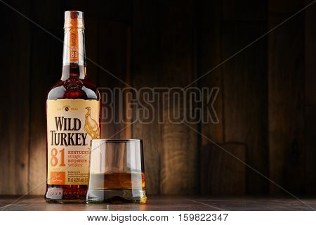 POZNAN POLAND - NOV 22 2016: Wild Turkey is a brand of Kentucky straight bourbon whiskey produced by the Austin Nichols division of Campari Group