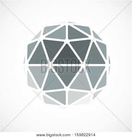 3D Vector Digital Spherical Object Made Using Triangular Facets. Low Poly Shape, Monochrome Polygona
