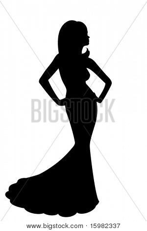 silhouette of woman in long dress