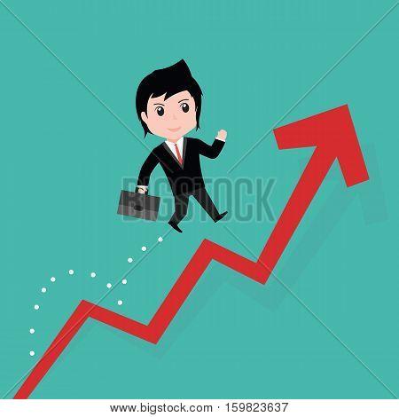 Businessman Jump Over Growing Chart, Cartoon Eps10