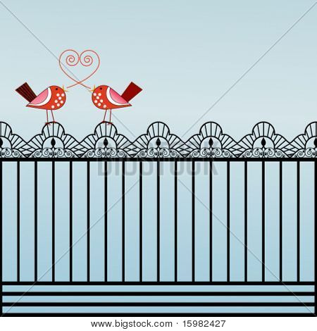 Whimsical birds on a ornate fence