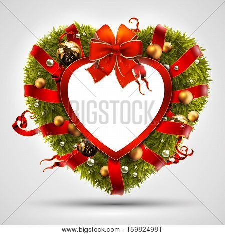Christmas wreath in the shape of a heart, decorated with Christmas tree branches and balls