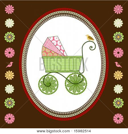 Carriage with multi patterns and bird flowers