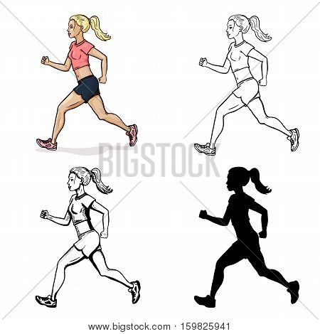 Vector Set Of Female Character. Running Girl. Cartoon Color, Lineart, Sketch And Silhouette Illustra