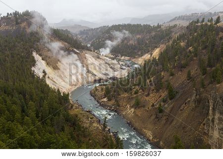 An S curve in the Yellowstone River in Yellowstone National Park USA.