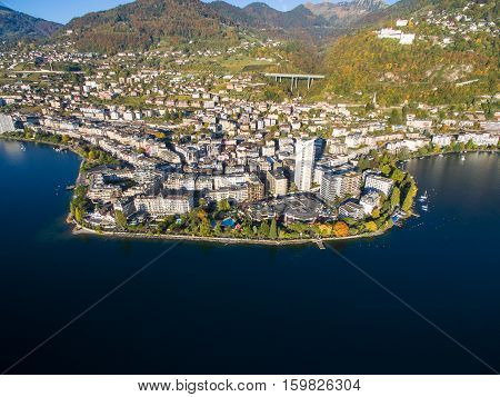 Aerial view of Montreux waterfront in Switzerland