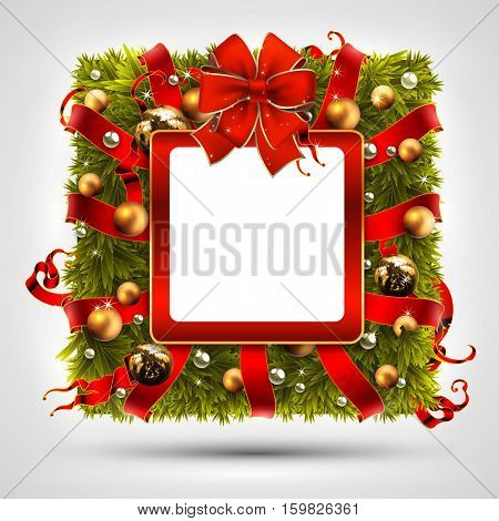 Christmas wreath in the shape of a square, decorated with Christmas tree branches and balls