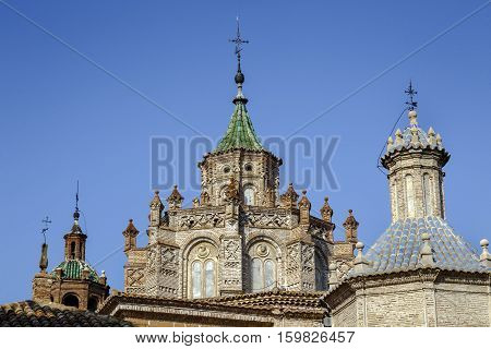 Details of cityscape Cathedral at Teruel Aragon Spain