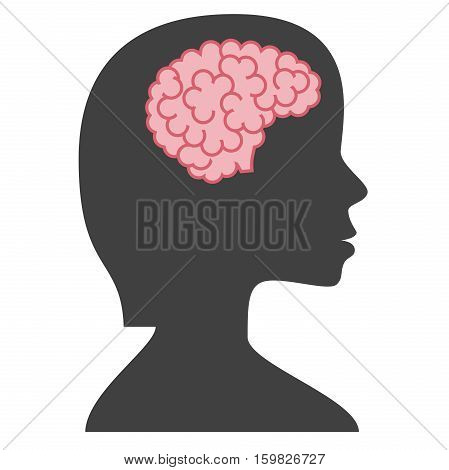 Silhouette woman with brain isolated on white background. Inspiration success idea and insight concept. Flat design. Vector illustration. EPS 8 no transparency