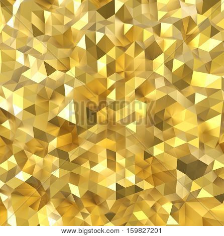Golden polygon wall 3D rendering background.