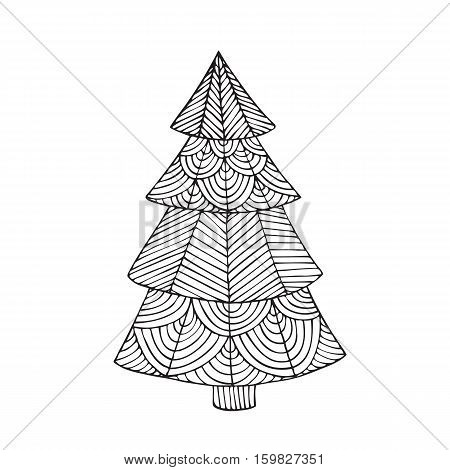Adult coloring book page design with the image of a Christmas tree. Coloring book page for adult. Vector illustration in the style of zentangle, doodle, ethnic, tribal design.
