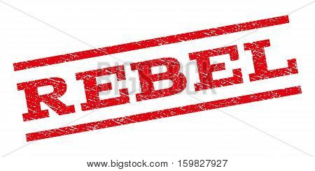 Rebel watermark stamp. Text caption between parallel lines with grunge design style. Rubber seal stamp with unclean texture. Vector red color ink imprint on a white background.