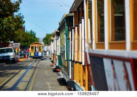 Hand-rails Of Famous Cable Cars In San Francisco, Usa