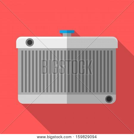 Colorful car radiator icon in modern flat style with long shadow. Car parts and service vector illustration