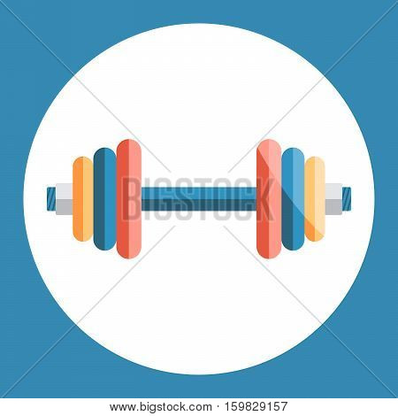 Dumbell icon. Color dumbell on a blue background. Sports Equipment. Vector Illustration