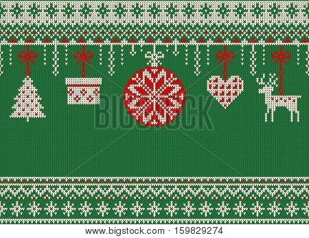 Merry Christmas and New Year seamless knitted pattern with Christmas balls snowflakes and fir. Scandinavian style. Winter Holiday Sweater Design. Vector Illustration