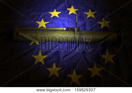 EU Flag with Soviet rocket-propelled grenade launcher