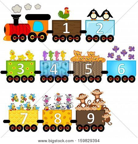 train with number of animals - vector illustration, eps