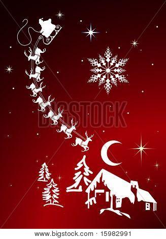 Santa flying over house christmas night