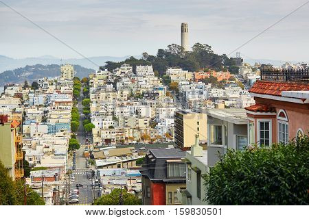 Scenic View At Coit Tower In San Francisco
