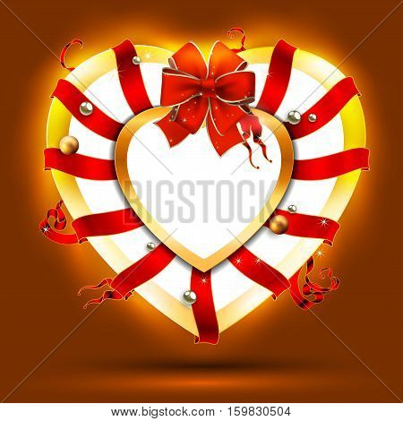Christmas wreath in the shape of a heart, decorated with red ribbons