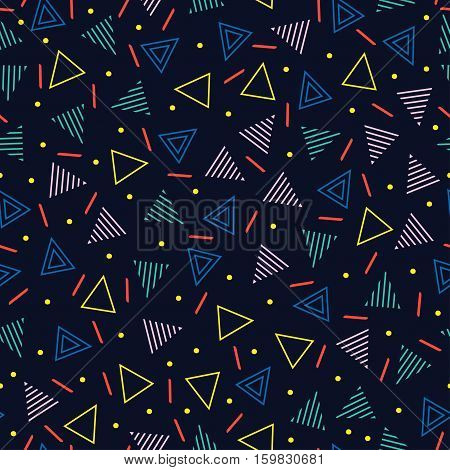 Retro memphis geometric line shapes seamless patterns. Hipster fashion 80-90s. Abstract jumble textures. Black and white. Triangle. Memphis style for printing, website, fabric, poster, cards poster