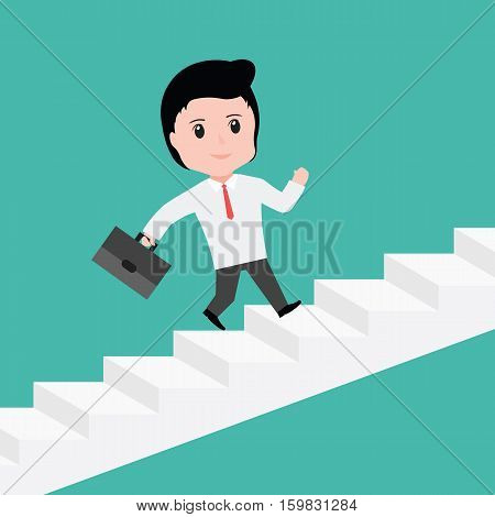 Businessman With She Is Running Up Stairs