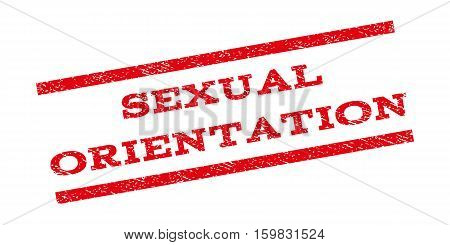 Sexual Orientation watermark stamp. Text caption between parallel lines with grunge design style. Rubber seal stamp with scratched texture. Vector red color ink imprint on a white background.