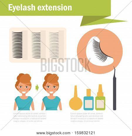 Eyelash extension. Vector. Cartoon. Isolated. Flat Illustration for websites brochures magazines