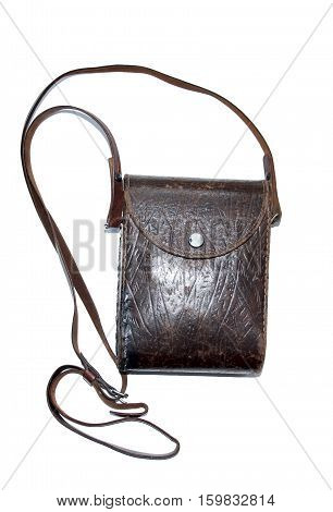 Vintage card-case embossed dark brown leather. The Second World War military bag.
