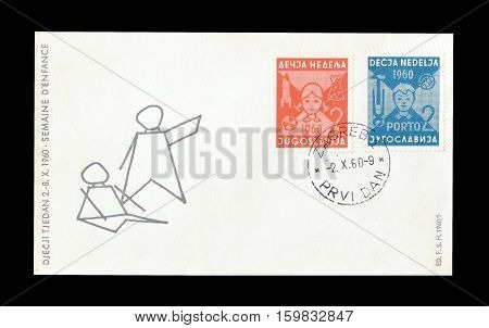 YUGOSLAVIA - CIRCA 1960 : Cancelled First Day Cover Letter printed by Yugoslavia, that shows Children.