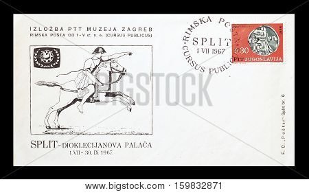 YUGOSLAVIA - CIRCA 1967 : Cancelled First Day Cover Letter printed by Yugoslavia, that shows Roman post.