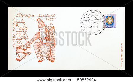YUGOSLAVIA -CIRCA 1969 : Cancelled First Day Cover Letter printed by Yugoslavia, that shows Santa Claus.