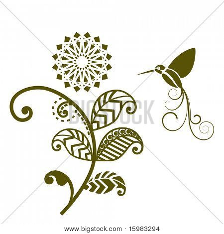 Funky foliage with humming bird (all separate elements for changes including each leaf)