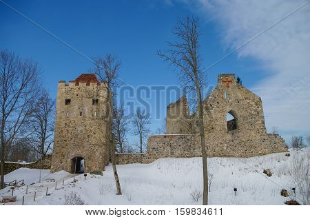 Winter View Of Sigulda Medieval Castle Ruins In The Gauja Valley In Latvia