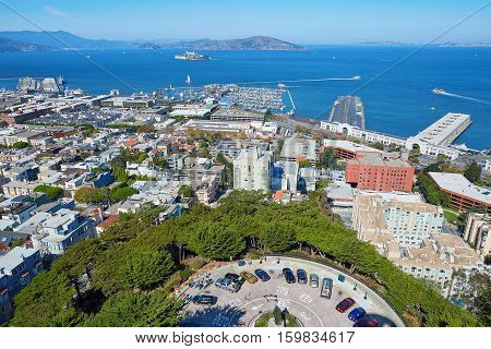 Cityscape Of San Francisco Seen From Coit Tower, California, Usa